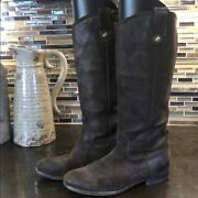 Frye Mellissa Button Brown Leather Riding Boots