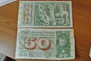 Two Swiss Bank Note Banknotes Bill 50 Francs 1974