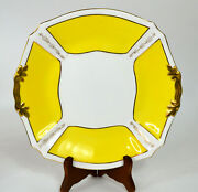 Sadler Rose Heath England Yellow And Gold Snack Plate With Handles