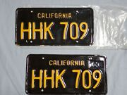 Vintage Year Of Manufacture 1963 California License Plate Set Gold On Black