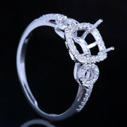 Solid 18k White Gold Semi Mount Si Diamonds Ring 6x6mm Cushion Vintage Antique