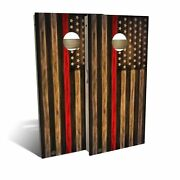 Charred Firefighter Thin Red Line Cornhole Board Set - 2 Sizes