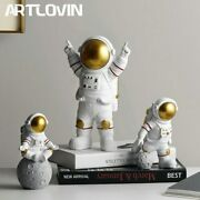 Resin Astronaut Figurines Fashion Spaceman With Moon Sculpture Decorative