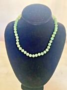 Fine Green Jade Bead 14kt Necklace Measures 17.25 In And Weighs 37.80 Grams