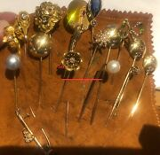 Rare 16 Gold, Diamond, Ruby, Emerald, Pearl, And Sapphire Brooches And Pins 42.40gr