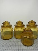 Vtg Amber Paneled Glass Lot Of 4 Ground Stopper Lid Cannister Apothecary Jar W1