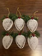 Set Of 6 White Crocheted Christmas Ornaments Sphere W/pine Greenery And Ribbon