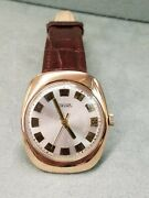 Authentic Pakema Russian Menand039s 14k Rose Gold Silver Dial Mechanical Watch