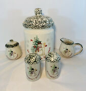 Snowman Design Cookie Jar With Sugar And Creamer And Salt And Pepper Shakers