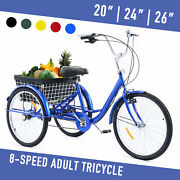 26/24/20 1/8 Speed Adult Tricycle 3-wheel Bike W/basket For Shopping 220lb