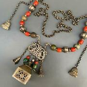 Antique Chinese Mongolian Silver Coral Turquoise Pendant Necklace Ethnic Tribal
