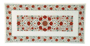 Carnelian Gemstones Inlaid Coffee Table Top Marble Lawn Table 24 X 48 Inches