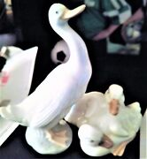 Nao Lladro Spain Porcelain Duck Figurines Set Of 2  Retired