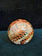 Glass Orb Paperweight Handmade Signed Kyle Kgribskov '86' Twisted Orange Ribbon