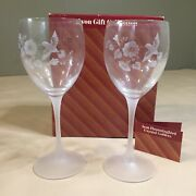 Avon Gift Collection Hummingbird Crystal Goblets One Pair New Coa Red Box