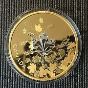 Canada 2017 50 Whispering Maple Leaves 3 Oz Silver Proof Gold-plated Coin.