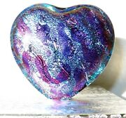 Dichroic Fused Glass Heart Free Standing Sculpture Paperweight Mad Mosaic