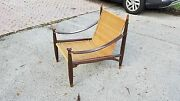 Rare Mid Century Modern Frank Kyle Woven Reedrosewood And Leather Lounge Chair