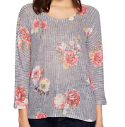 Nally And Millie Multicolor Stripe Floral Sweater Top Womenand039s Size S 4104