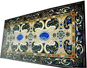 30 X 72 Inches Black Dinning Table Top Marble Inlay Coffee Table With Mosaic Art