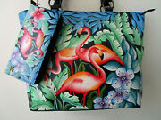 Anuschka Flamingo Fever Hand Painted Leather Shoulder Tote Purse And Wallet - Nwt