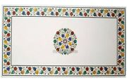 Cottage Art And Craft Marble Inlay Table Top Stone Dinning Table 30 X 60 Inches