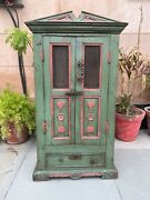 Antique Old Wood Original Painted Victorian English Cabinet Cupboard One Drawer