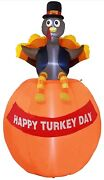Thanksgiving Led Lighted Inflatable 6 Foot Turkey Sitting On Pumpkin A O16