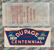 Vintage 1939 Dupage County Illinois Centennial Water Decal Il Auto Camper Old