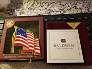Baldwin Christmas Ornaments 1776 American Flag Brass And Finished In 24kt Gold