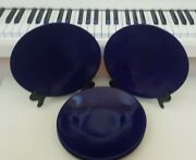 Set Of 4 Navy Blue Ultima China Dinner Plates Solid Design 10.5 Inches