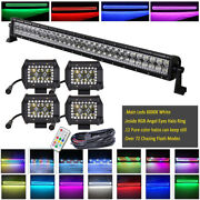 32 Off Road Led Light Bar +4x 4and039and039 18w Pods W/ Chasing Rgb Halo Kit Sync-control