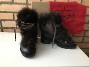 Christian Louboutin Fanny Flat Black Leather Fur Shearling Ankle Boots 38