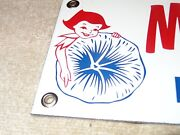 Vintage Morning Glory Ice Cream Queen+ Flower 12 Porcelain Metal Dairy Gas Sign