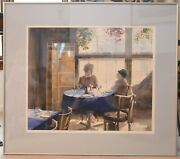 Original Watercolor Painting Jean Mcquillan Signed Waterfront Cafe Large 20 X 24