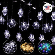Christmas Led Curtain Snowflake Fairy String Lights Window Outdoor Xmas Party Us