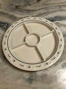 Longaberger Pottery Heritage Green Divided Relish Plate 13 1/4 Diameter