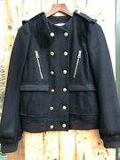 Balenciaga Collarless Military Style Aw07 Wool And Suede Jacket Uk10 It42