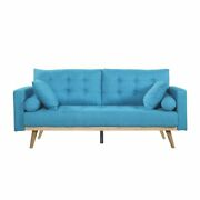 Mid Century Sofa With Wood Frame And Legs, Tufted Living Room Sofa, Blue