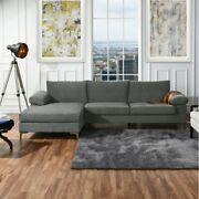 Grey Sectional Couch L Shape Couch With Chaise Silver Chrome Legs Non Reversible