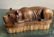 Circa 1900 Black Forest Brienz Brush With Hand Carved Laying Bear On Top