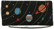 Mary Frances Out Of This World Black Beaded Planet Clutch Bead Bag Handbag New