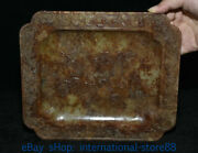 8.8 Antique China Natural Hetian Jade Hand-carved Crab Flower Plate Dish Tray
