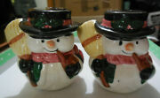 Vintage Salt And Pepper Shakers - Snowman With Brooms