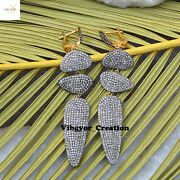 Genuine Pave Diamond Earrings 925 Sterling Silver Jewelry Christmas Gift For Her