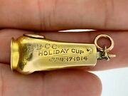 Nice Antique 10k Gold Etched Cigar Cutter Golf Prize Winner Holiday Cupc.1914