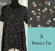Lularoe Small Floral Perfect Tee - Black White And Red - Nwt