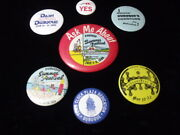 7 Vintage Dubuque Iowa Pin Backs 1964 To 1990 Nice Little Collection Free Ship