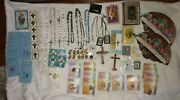 Huge Lot Vintage Religious Christian Medals Rosary Beads Pins Bibles Pendants