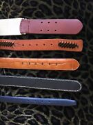 Lot Of 5 Women's Leather Belts Size S-m Brown, Black, Dark Blue, Stretchy Canvas